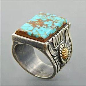 Wholesale Handmade Turquoise Silver Ring Women Men